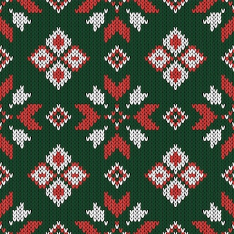 Christmas abstract knitted seamless pattern.