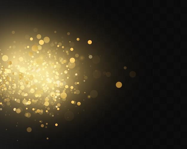 黒の透明な背景にクリスマス抽象的なスタイリッシュな光の効果