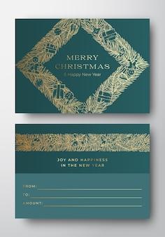 上品なタイプのクリスマス抽象的なベクトルグリーティングギフトカードの背景の背面と前面のデザインレイアウト...