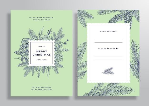 クリスマスの抽象的なベクトルの正方形のフレームのグリーティングカードのポスターまたは背景の背面と前面の招待状..。