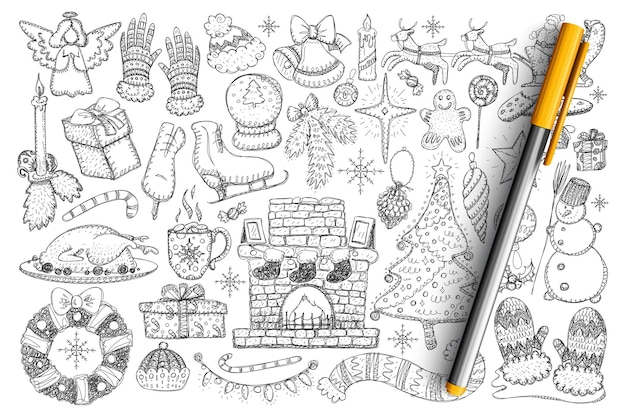 Christmas accessories and decorations doodle set. collection of hand drawn snowman, fire, skates, candles, wreath, roasted turkey, snowball, decorations for home isolated