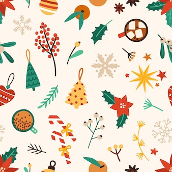 Christmas accessories seamless pattern