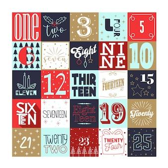 Design piatto per il calendario dell'avvento di natale