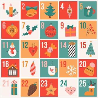 フラット手描きスタイルのクリスマスアドベントカレンダー、お祝いのベクトルポスター。