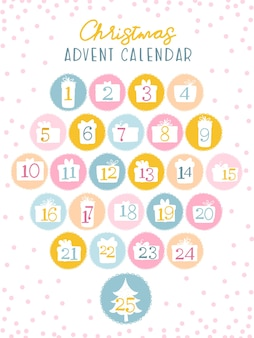 Christmas advent calendar for kids. numbers in the silhouettes of gift boxes. cute palette of sweets.
