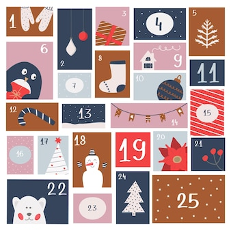 Рождественский адвент-календарь. печать для упаковки конфет, детского журнала, стикеров, плаката. ожидание католического зимнего праздника. векторная иллюстрация, квартира