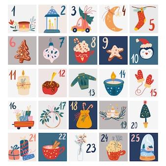 Christmas advent calendar. scandinavian style christmas poster. vector hand drawn elements. cute winter illustration for card, poster, kid room decor, nursery art.