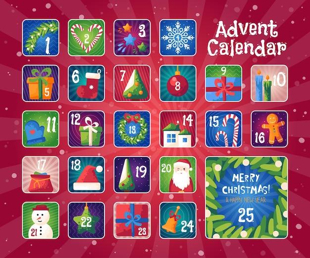 Рождественский календарь появления с милыми векторными иллюстрациями. рождественские наклейки