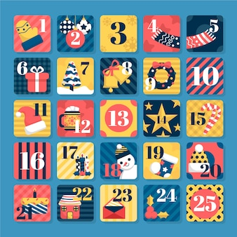 Christmas advent calendar with geometric seamless patterns