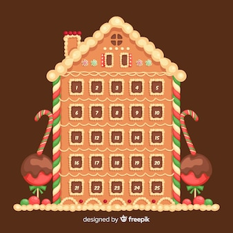 Christmas advent calendar with gingerbread house design