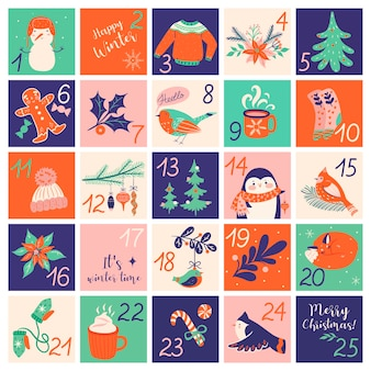 Christmas advent calendar with hand drawn elements