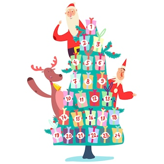 Christmas advent calendar with tree of gifts, cute santa claus, elf and reindeer. cartoon illustration isolated on a white background.