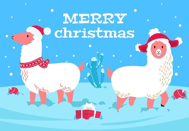 Christmas alpaca. holiday llama animal, snowy cactus. xmas lama wear scarf and hats, winter new year cute wool animals vector poster. llama and alpaca christmas funny, xmas character illustration