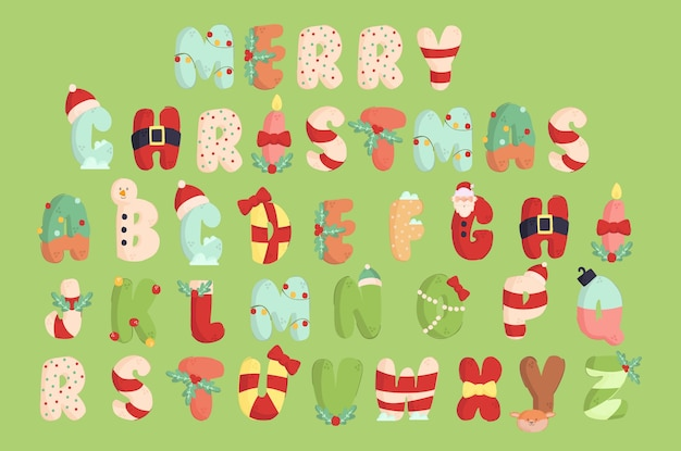 Christmas alphabet illustration set