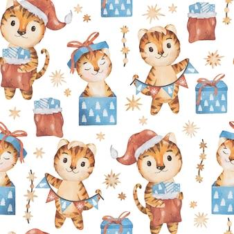 クリスマスと2022年新年のシームレスなパターンハッピータイガーファミリー水彩ベクトルデザイン