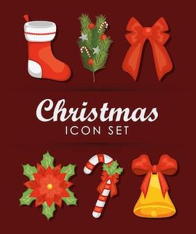 赤い背景の上に設定されたクリスマスとクリスマスの靴下アイコン