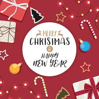 Рождественский и счастливый новый год и украшенный подарок