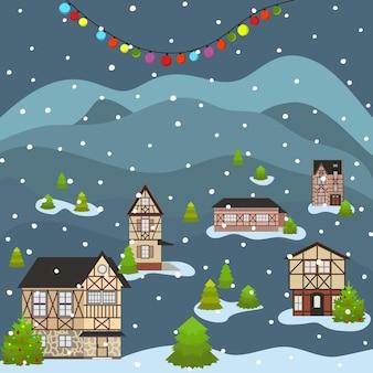 冬の休日を祝うクリスマスと新年あけましておめでとうございます街並み漫画の古い建物の町の通り