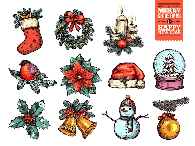 Рождества и счастливого нового года коллекция значков эскиза.
