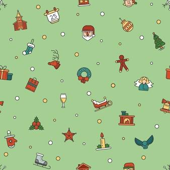 Рождество и новый год плоский дизайн шаблон