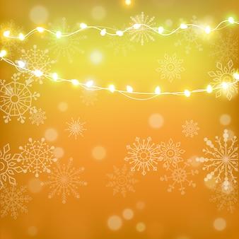 クリスマスと新年あけましておめでとうございますゴールドの背景にスノーフレーク、新年ライトストライプ。