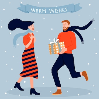 Открытка с рождеством и новым годом мужчина дарит своей женщине подарочную коробку