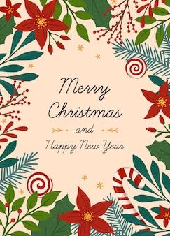 Рождества и счастливого нового года шаблон поздравительной открытки. современный векторный макет с рисованной традиционные символы зимнего праздника. рождественский модный дизайн для баннеров, приглашений, принтов, социальных сетей.