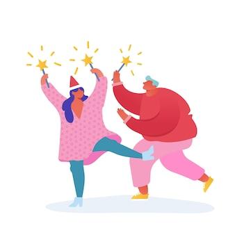 Открытка с рождеством и новым годом с персонажами танцующих людей с 2020 годом. человек с фейерверком, праздник, вечеринка, зимние праздники. для открытки, плаката, приглашения