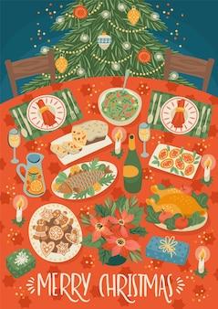 クリスマステーブルのクリスマスと新年あけましておめでとうございますイラスト。お祝いの食事。トレンディなレトロなスタイル。