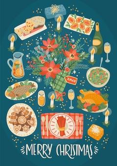크리스마스와 새 해 복 많이 받으세요 크리스마스 테이블의 그림입니다. 축제 식사. 유행 복고 스타일.