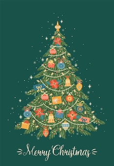 クリスマスツリーのクリスマスと新年あけましておめでとうございますイラスト。トレンディなレトロなスタイル。