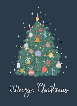 크리스마스 트리의 크리스마스와 새 해 복 많이 받으세요 그림입니다. 벡터 디자인 템플릿입니다.