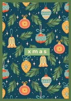 クリスマスの装飾とクリスマスと新年あけましておめでとうございますイラスト。