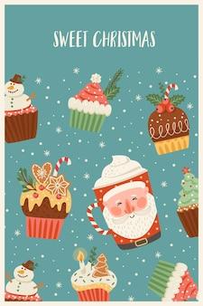 Рождества и счастливого нового года иллюстрация с рождественскими сладостями и напитками. векторный шаблон дизайна.