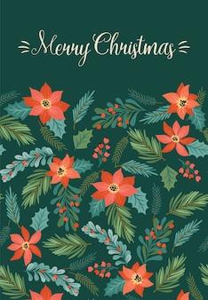 クリスマスツリーと花のクリスマスと新年あけましておめでとうございますイラスト。トレンディなレトロなスタイル。