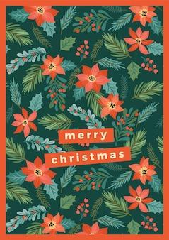 クリスマスツリーと花のクリスマスと新年あけましておめでとうございますイラスト。
