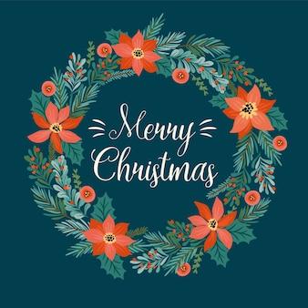 크리스마스 화 환으로 크리스마스와 새 해 복 많이 받으세요 그림.