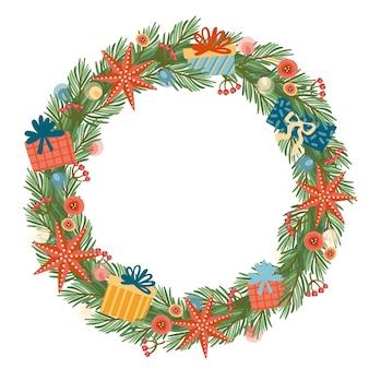 Рождества и счастливого нового года иллюстрация с рождественским венком.