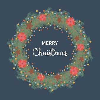 크리스마스 화환과 함께 크리스마스와 새해 복 많이 받으세요 그림