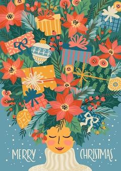 かわいい女性とクリスマスと新年あけましておめでとうございますイラスト。トレンディなレトロなスタイル。