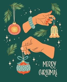男性と女性の手でクリスマスと新年あけましておめでとうございますイラスト。トレンディなレトロなスタイル。