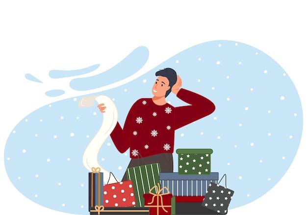 祝うクリスマスと新年あけましておめでとうございます男は贈り物のチェックリストを読みます