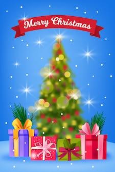 肘掛け椅子にサンタがいるクリスマスと新年あけましておめでとうございますの部屋のインテリア、装飾されたクリスマスツリー、レンガの壁。モミ、星、枕と休日のお祭りの背景。クリスマストラディショナルルームポストカード