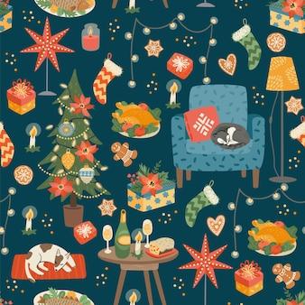 クリスマスと新年あけましておめでとうございますシームレスパターン。甘い家。トレンディなレトロスタイル。