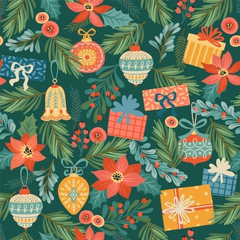 クリスマスと新年あけましておめでとうございますのシームレスなパターン。トレンディなレトロなスタイル。