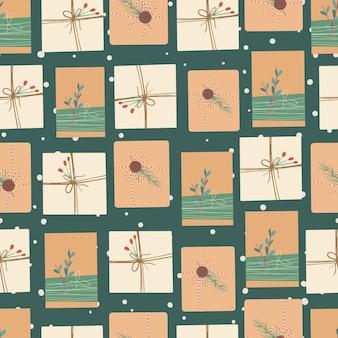 크리스마스 선물 상자 전나무 가지와 열매와 크리스마스와 새해 복 많이 받으세요 원활한 패턴