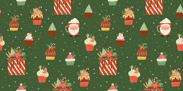 クリスマスと新年あけましておめでとうございますのシームレスなパターンとクリスマスのお菓子と飲み物。ベクトルデザインテンプレート。