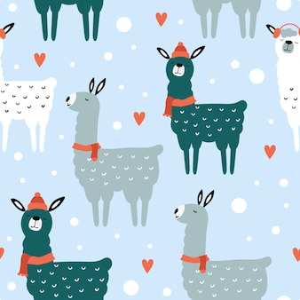 クリスマスと新年あけましておめでとうございますかわいいラマとのシームレスなパターン。ベクトルデザインテンプレート。