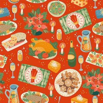 お祝いの食事とクリスマスと新年あけましておめでとうございますのシームレスなパターン。トレンディなレトロスタイル。