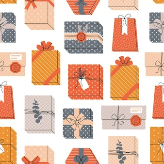 크리스마스와 새 해 복 많이 받으세요 완벽 한 패턴 흰색 배경에 선물 상자